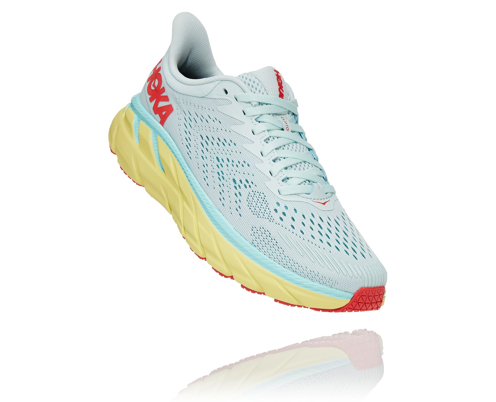 HOKA CLIFTON 7 W MORNING MIST / HOT CORAL